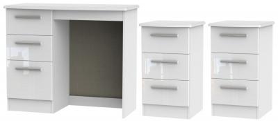 Knightsbridge White 3 Piece Bedroom Set with 3 Drawer Bedside