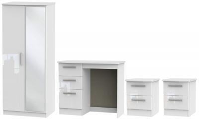 Knightsbridge White 4 Piece Bedroom Set with 2 Door Mirror Wardrobe