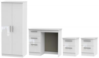 Knightsbridge White 4 Piece Bedroom Set with 2 Door Wardrobe