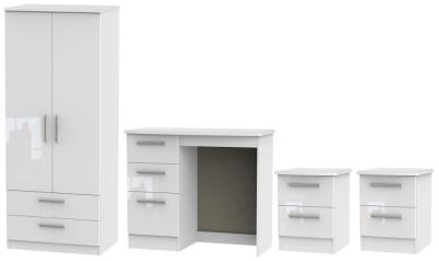 Knightsbridge White 4 Piece Bedroom Set with 2 Drawer Wardrobe