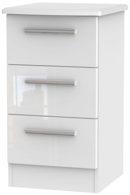 Knightsbridge High Gloss White Bedside Cabinet - 3 Drawer Locker