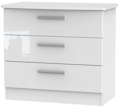 Knightsbridge High Gloss White Chest of Drawer - 3 Drawer