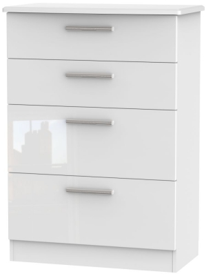 Knightsbridge High Gloss White Chest of Drawer - 4 Drawer Deep