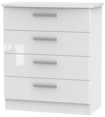 Knightsbridge High Gloss White Chest of Drawer - 4 Drawer