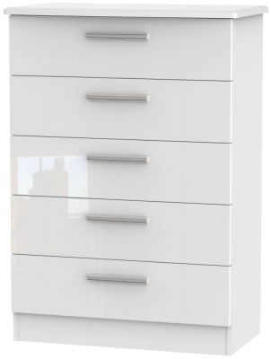 Knightsbridge High Gloss White Chest of Drawer - 5 Drawer