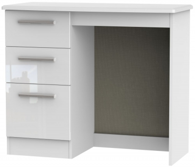Knightsbridge High Gloss White Single Pedestal Dressing Table