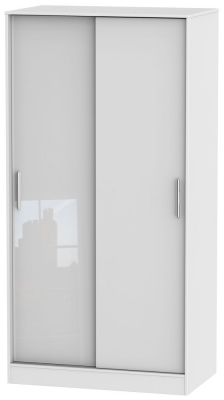 Knightsbridge High Gloss White 2 Door Sliding Wardrobe