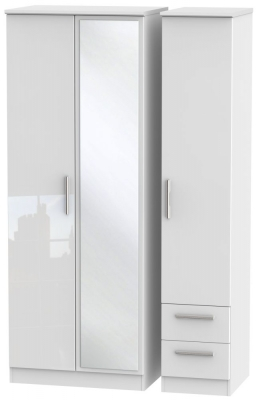 Knightsbridge High Gloss White 3 Door 2 Right Drawer Tall Combi Wardrobe