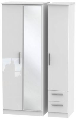 Knightsbridge High Gloss White Triple Wardrobe - Tall with Mirror and 2 Drawer