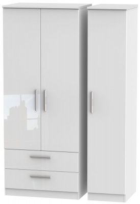 Knightsbridge High Gloss White Triple Wardrobe with 2 Drawer