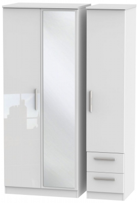 Knightsbridge High Gloss White 3 Door 2 Right Drawer Combi Wardrobe