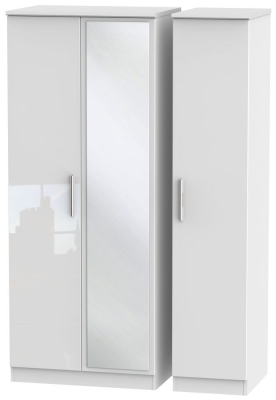 Knightsbridge High Gloss White 3 Door Mirror Wardrobe