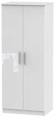 Knightsbridge High Gloss White 2 Door Wardrobe