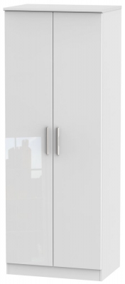 Knightsbridge High Gloss White 2 Door Tall Hanging Wardrobe