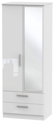 Knightsbridge High Gloss White Wardrobe - Tall 2ft 6in with 2 Drawer and Mirror