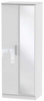 Knightsbridge High Gloss White 2 Door Tall Mirror Wardrobe