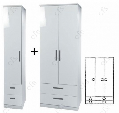 Knightsbridge White 3 Door Combi Wardrobe with Drawer