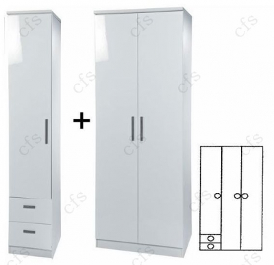 Knightsbridge White 3 Door Plain Wardrobe with Drawer