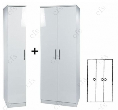 Knightsbridge White 3 Door Plain Wardrobe