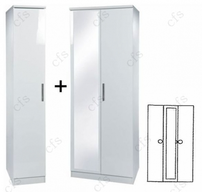 Knightsbridge White 3 Door Wardrobe with Mirror