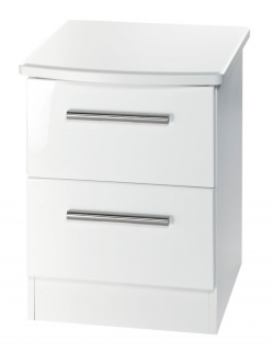 Knightsbridge White Bedside Cabinet - 2 Drawer