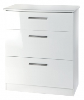 Knightsbridge White Chest of Drawer - 3 Drawer Deep