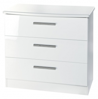 Knightsbridge White Chest of Drawer - 3 Drawer