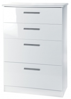 Knightsbridge White Chest of Drawer - 4 Drawer Deep