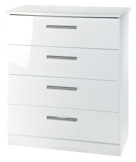 Knightsbridge White Chest of Drawer - 4 Drawer