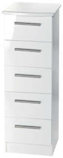 Knightsbridge White Chest of Drawer - 5 Drawer Narrow
