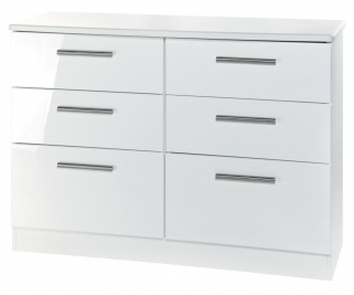 Knightsbridge White Chest of Drawer - 6 Drawer Midi