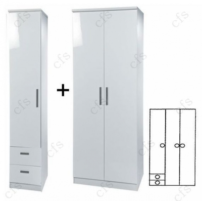Knightsbridge White Tall 3 Door Plain Wardrobe with Drawer
