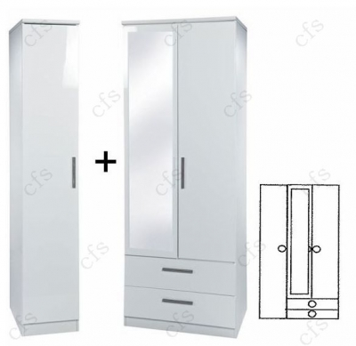 Knightsbridge White Tall 3 Door Wardrobe With 2 Drawer and Mirror