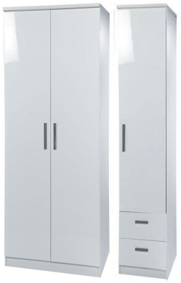 Knightsbridge White Triple Wardrobe - Tall Plain with 2 Drawer