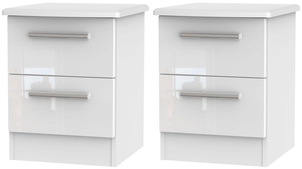 2 X Knightsbridge White 2 Drawer Bedside Cabinet (Pair)
