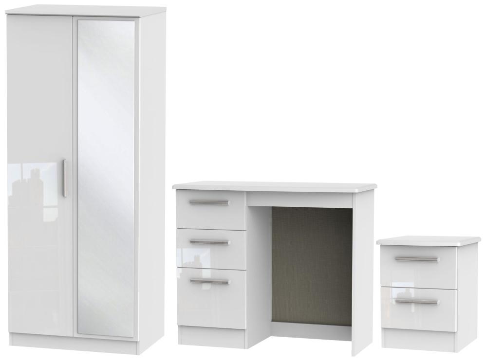 Knightsbridge White 3 Piece Bedroom Set with 2 Door Mirror Wardrobe