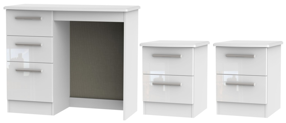 Knightsbridge White 3 Piece Bedroom Set with 2 Drawer Bedside