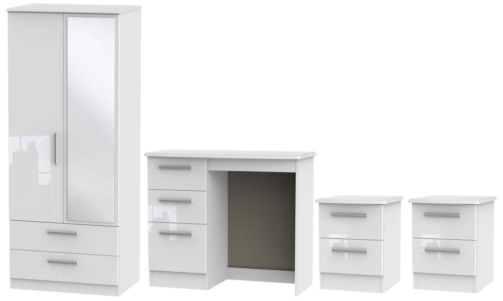 Knightsbridge White 4 Piece Bedroom Set with 2 Door Combi Wardrobe