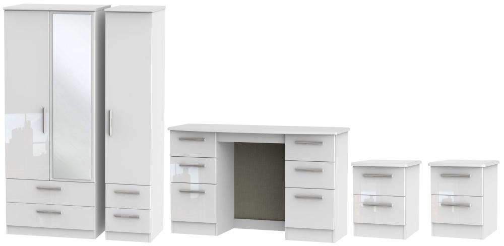 Knightsbridge White 4 Piece Bedroom Set with 3 Door Combi Wardrobe
