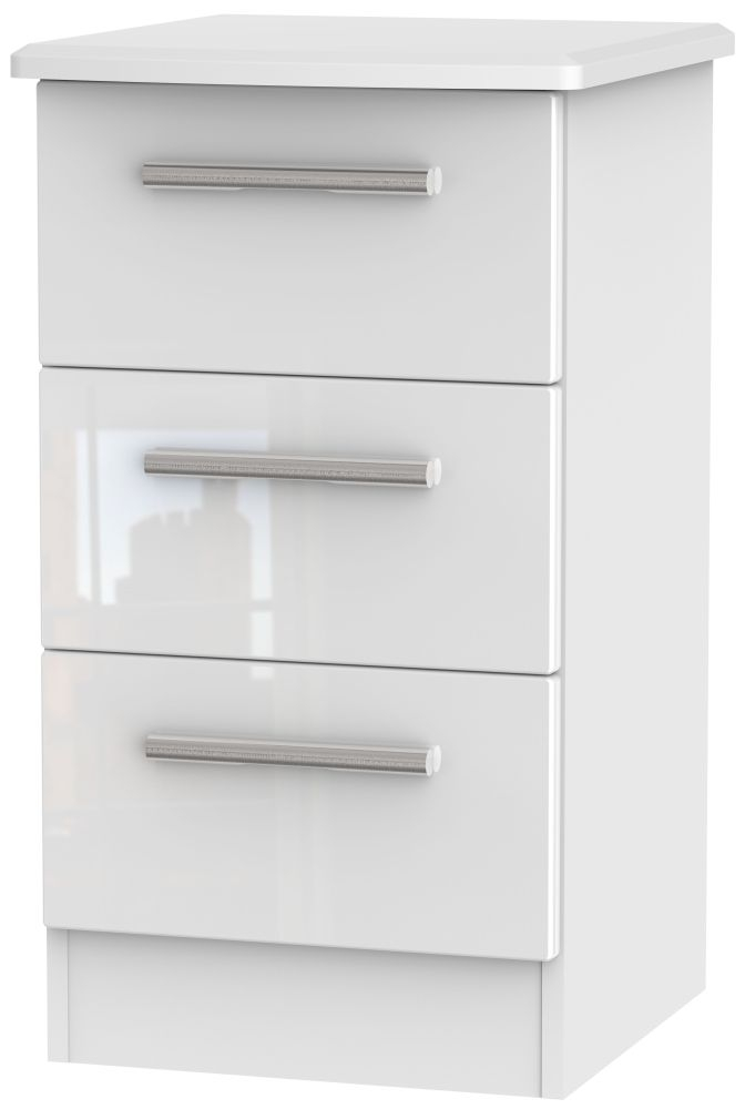 Knightsbridge High Gloss White Bedside Cabinet  Drawer Locker
