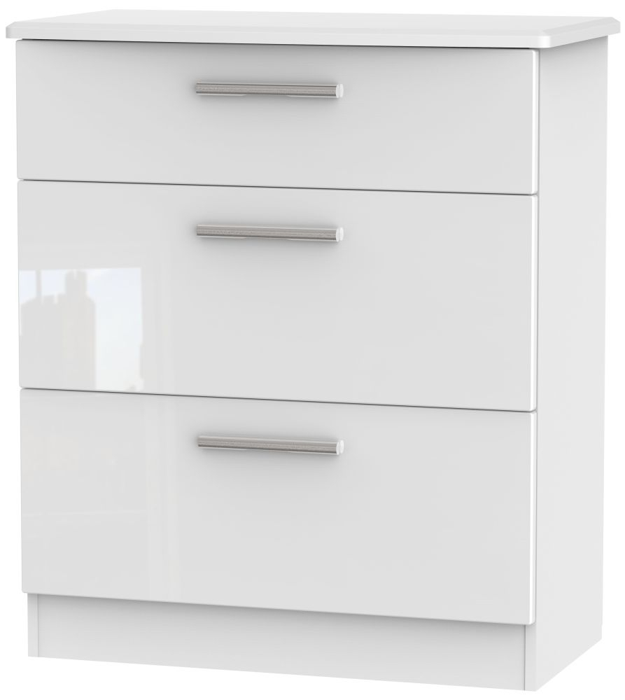 Knightsbridge High Gloss White Chest of Drawer - 3 Drawer Deep
