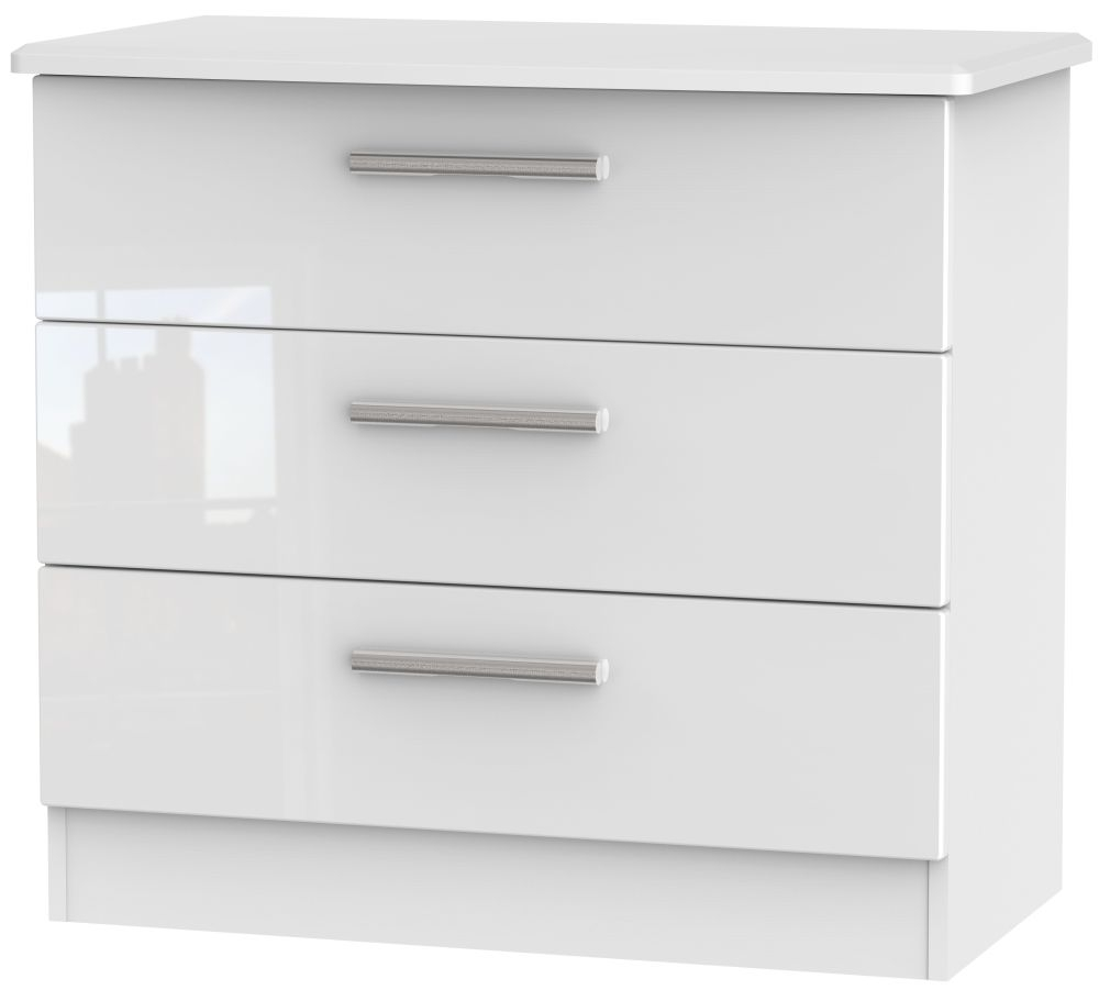 Knightsbridge High Gloss White 3 Drawer Chest