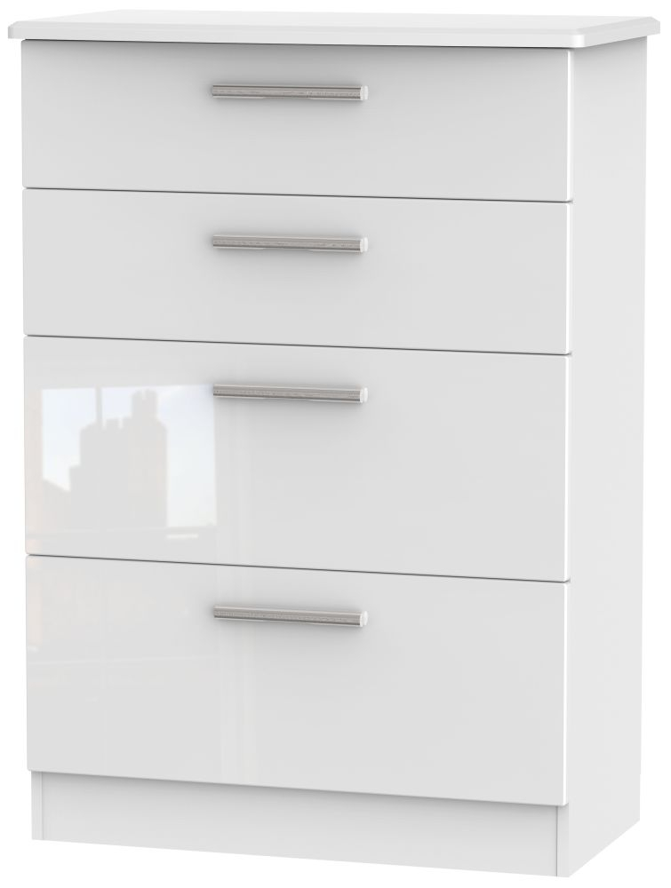Knightsbridge High Gloss White 4 Drawer Deep Chest