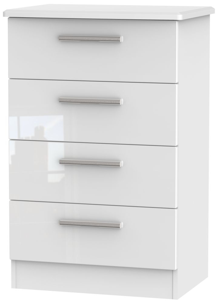 Knightsbridge High Gloss White 4 Drawer Midi Chest