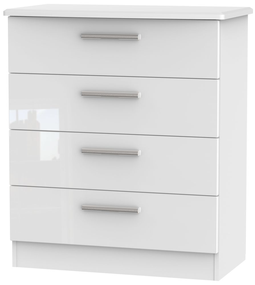 Knightsbridge High Gloss White 4 Drawer Chest