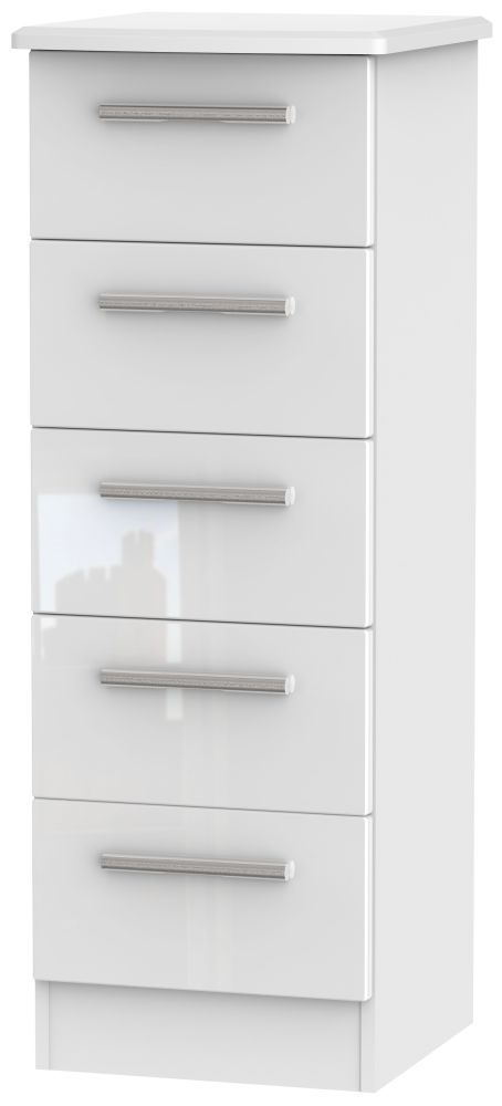 Knightsbridge High Gloss White 5 Drawer Tall Chest