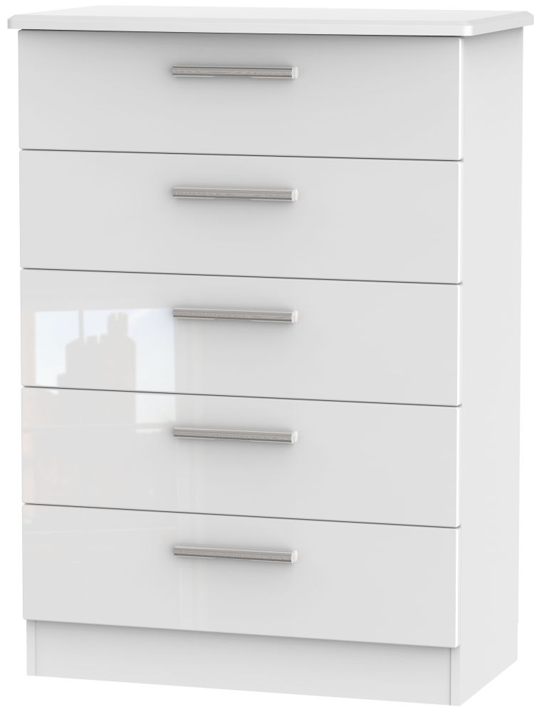 Knightsbridge High Gloss White Chest Of Drawer  Drawer