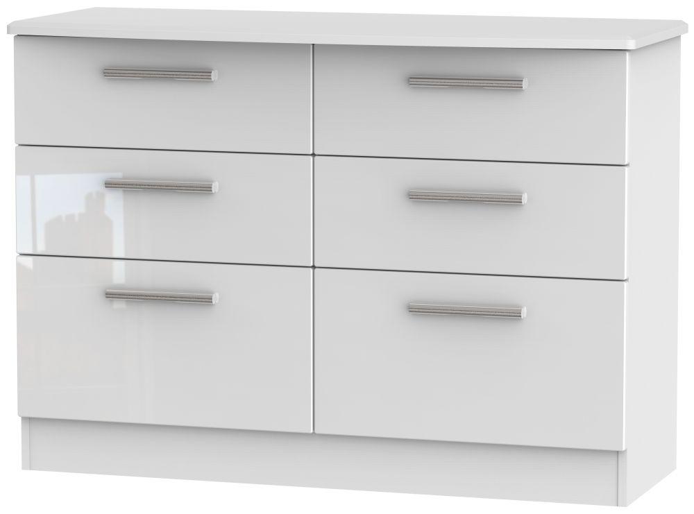 Knightsbridge High Gloss White Chest of Drawer - 6 Drawer Midi