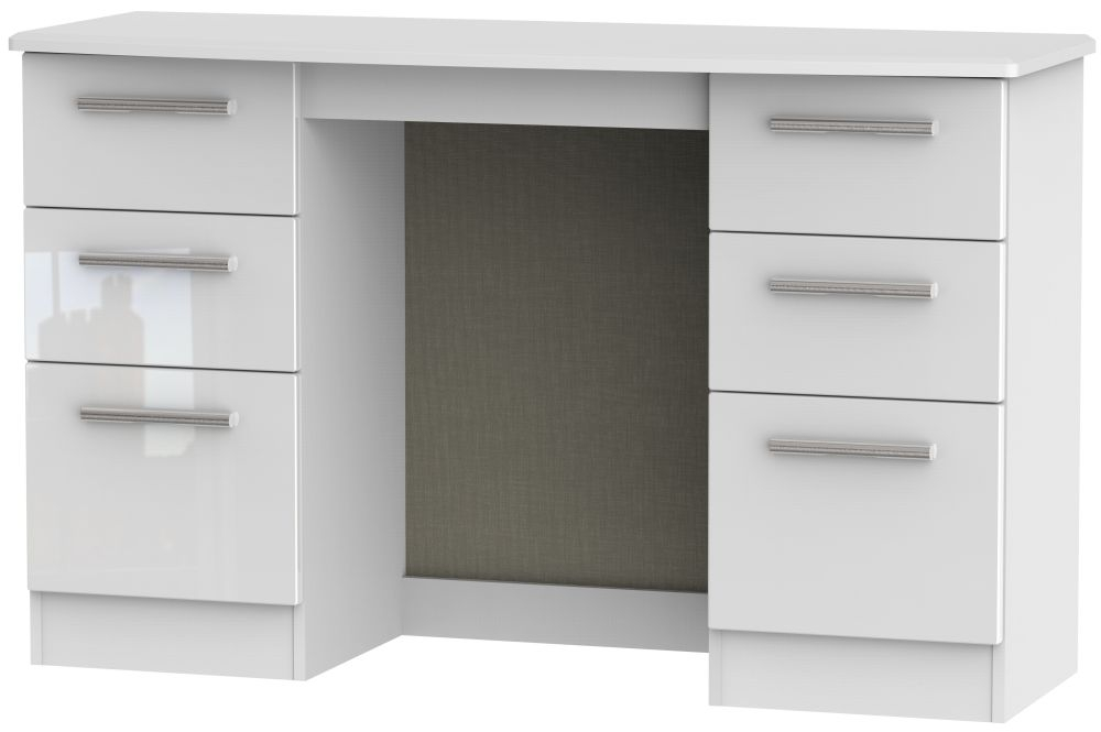 Knightsbridge White Dressing Table High Gloss 6 Drawer Dressing Table