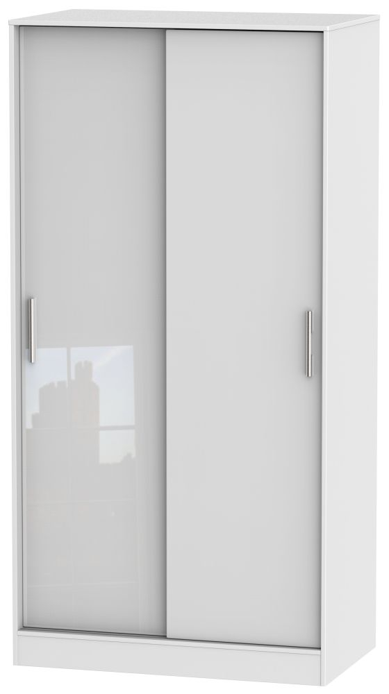 Knightsbridge High Gloss White Sliding Wardrobe - Wide